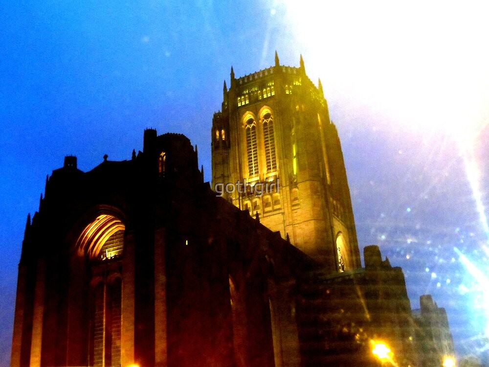 LIVERPOOL CATHEDRAL AT NIGHT by gothgirl