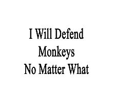 I Will Defend Monkeys No Matter What Photographic Print