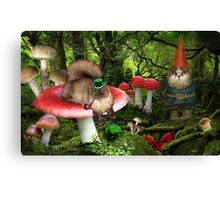 magical gnome cats in the forest Canvas Print