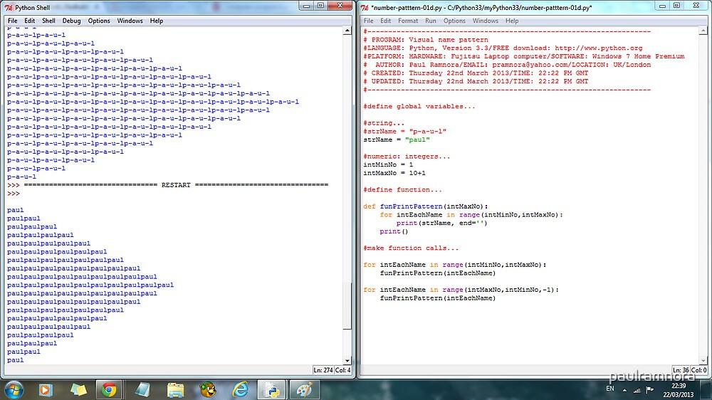 Python program: name pattern -(220313)- Digital screenprint by paulramnora