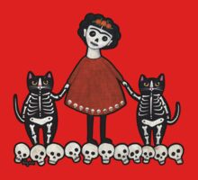 Frida and Her Skellie Cats Kids Tee