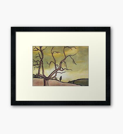 Tree Against a Yellow Sky Framed Print
