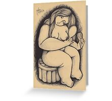 WOMAN WITH MIRROR Greeting Card