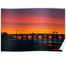Pink Myrtle Beach Skyline Poster