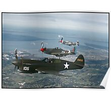 Warhawk,Mustang & Yak 9 over Hastings Poster