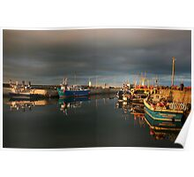 Evening Light in Seahouses Harbour Poster