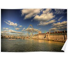 London's South Bank with the London Eye Poster
