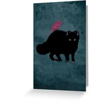 Cat and bird friends Greeting Card