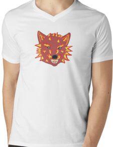 Flaming Wolf Mens V-Neck T-Shirt