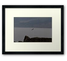Scottish flag flying high over the remains of Urquhart Castle  Framed Print