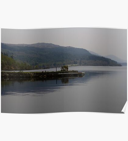 A jetty pushing out into the waters of Loch Ness in Scotland Poster