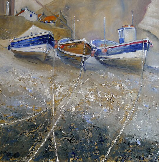Fishing Boats in Staithes Beck by Sue Nichol
