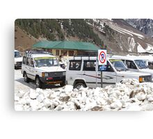 Tourist vehicles parked at the No Parking sign in Sonmarg Canvas Print