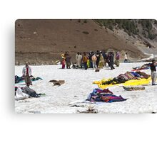 Tourists and locals mingling in the glacier like environment in Sonmarg Canvas Print