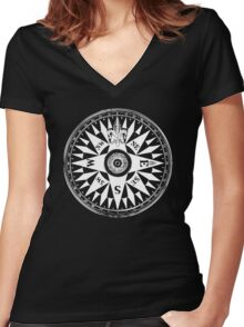 Nautical Compass   Navy Blue and White Women's Fitted V-Neck T-Shirt