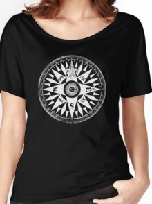 Nautical Compass | Navy Blue & White Women's Relaxed Fit T-Shirt