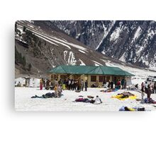 Tourists surrounded by snow and ice Canvas Print