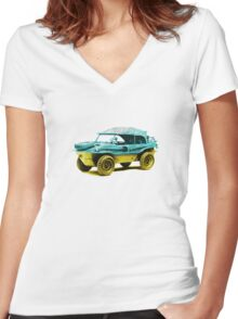 2 tone Schwimmwagen Duck Women's Fitted V-Neck T-Shirt