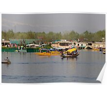 Shikaras and houseboats along with a garden in the Dal Lake in Srinagar Poster