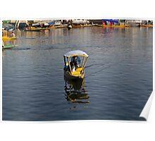 2 Kashmiri men in a small wooden boat in the Dal Lake in Srinagar Poster