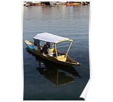 2 Kashmiri men on a small boat in the Dal Lake in Srinagar Poster