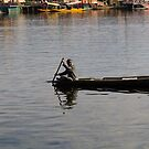 Kashmiri man rowing a small wooden boat by ashishagarwal74