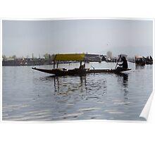 Kashmiri man rowing a shikara without tourists Poster
