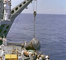 Gemini 5 Capsule Hoisted Onboard Recovery Ship by Space Photo Shop