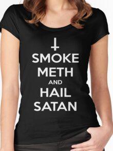 Smoke Meth and Hail Satan Women's Fitted Scoop T-Shirt