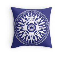 Nautical Compass | Navy Blue & White Throw Pillow