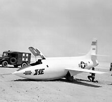 X-1E On Rogers Dry Lake With Collapsed Nose Gear by Space Photo Shop