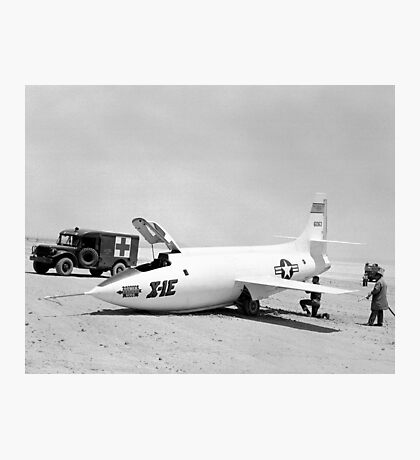 X-1E On Rogers Dry Lake With Collapsed Nose Gear Photographic Print