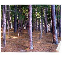 Abstract Pine Tree Forest Poster