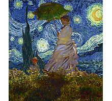 Monet Umbrella on a Starry Night Photographic Print