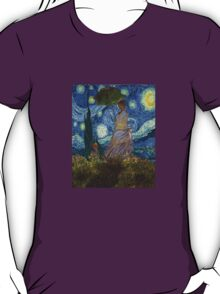 Monet Umbrella on a Starry Night T-Shirt