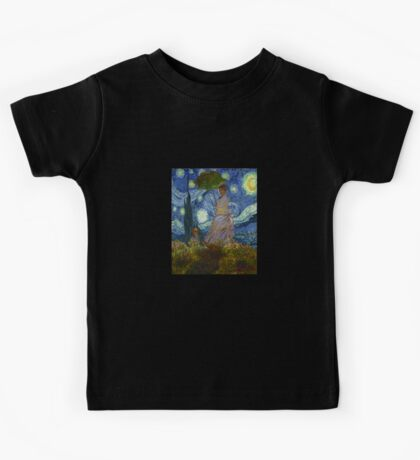 Monet Umbrella on a Starry Night Kids Tee
