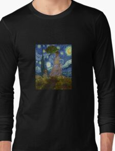 Monet Umbrella on a Starry Night Long Sleeve T-Shirt