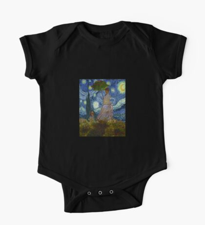 Monet Umbrella on a Starry Night One Piece - Short Sleeve