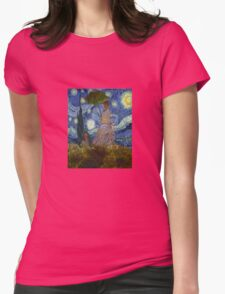 Monet Umbrella on a Starry Night Womens Fitted T-Shirt
