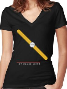 St. Clair West station Women's Fitted V-Neck T-Shirt