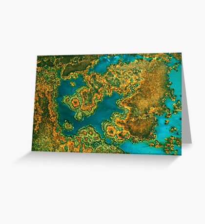 Abstract in Blue Green and Orange Greeting Card
