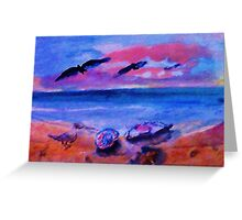 Look what is on the beach, watercolor Greeting Card