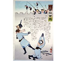 Russian soldiers frightened by toy figures of Japanese soldiers hanging by strings 001 Photographic Print