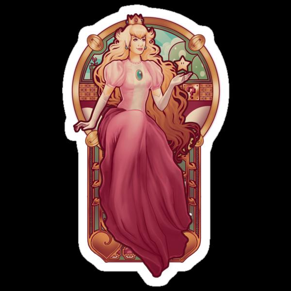 Princess Toadstool Nouveau - STICKER by MeganLara