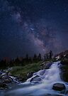 Waterfall at night by Wojciech Dabrowski