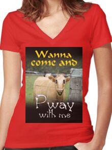 WANNA COME AND PWAY WITH ME Women's Fitted V-Neck T-Shirt