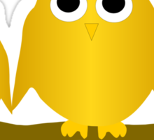 Gold Owls On A Branch Sticker