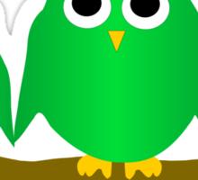 Green Owls On A Branch Sticker