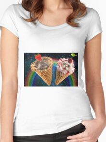 Cat and dog icecream cone friends Women's Fitted Scoop T-Shirt