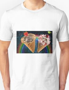 Cat and dog icecream cone friends Unisex T-Shirt